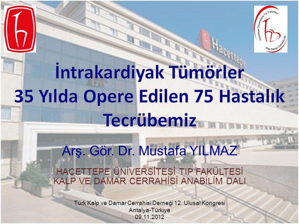 Arş. Gör. Dr. Mustafa YILMAZ HACETTEPE ÜNİVERSİTESİ TIP FAKÜLTESİ KALP VE DAMAR CERRAHİSİ ANABİLİM DALI Türk Kalp ve Damar Cerrahisi Derneği 12. Ulusa