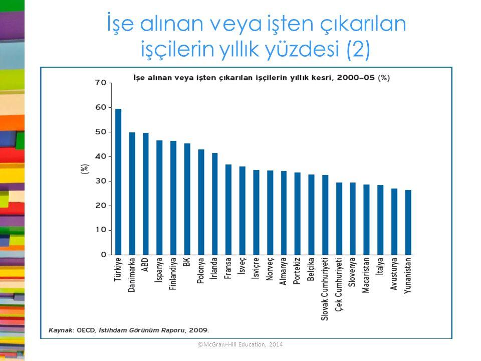 İşe alınan veya işten çıkarılan işçilerin yıllık yüzdesi (2)