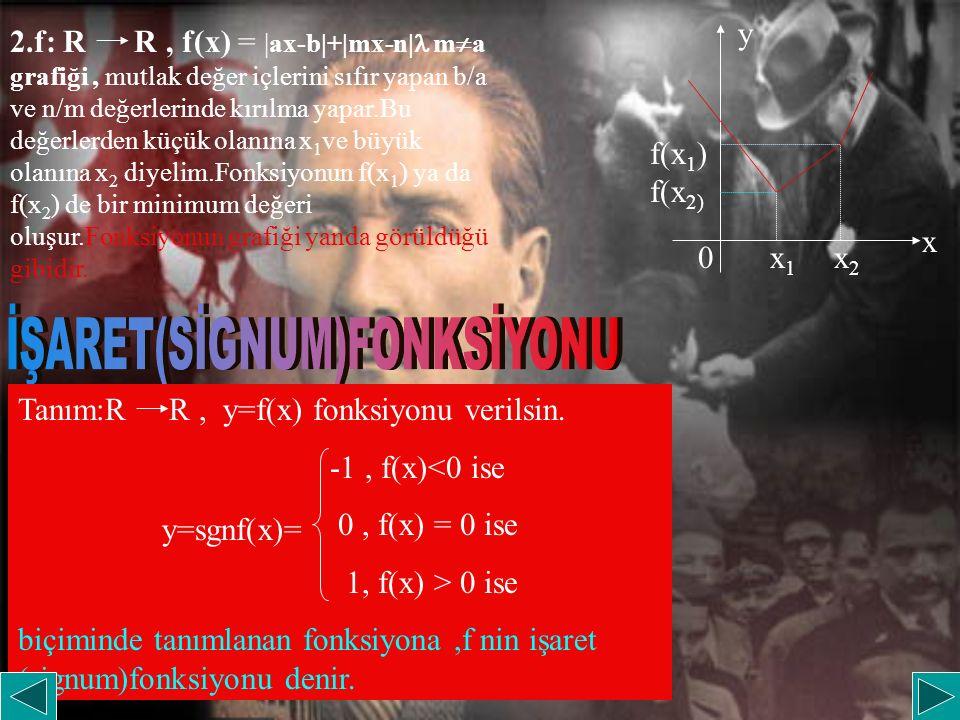 2.f: R R, f(x) = |ax-b|+|mx-n| m  a grafiği, mutlak değer içlerini sıfır yapan b/a ve n/m değerlerinde kırılma yapar.Bu değerlerden küçük olanına x 1 ve büyük olanına x 2 diyelim.Fonksiyonun f(x 1 ) ya da f(x 2 ) de bir minimum değeri oluşur.Fonksiyonun grafiği yanda görüldüğü gibidir.