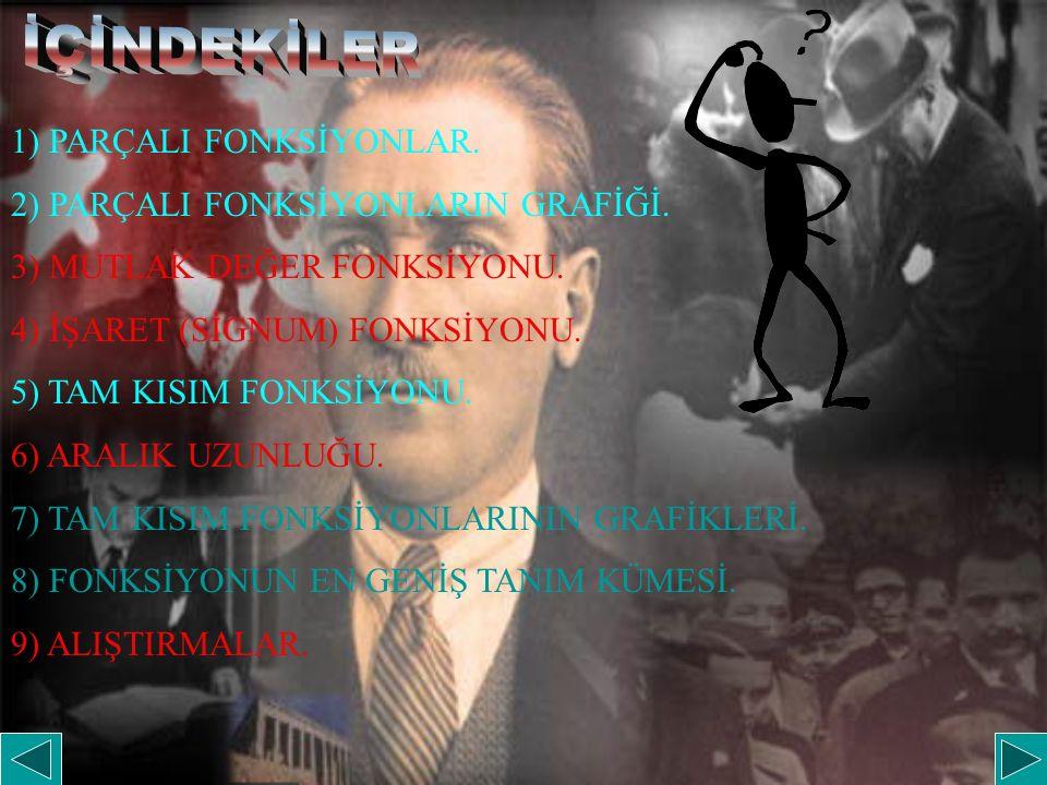 1) PARÇALI FONKSİYONLAR. 2) PARÇALI FONKSİYONLARIN GRAFİĞİ. 3) MUTLAK DEĞER FONKSİYONU. 4) İŞARET (SİGNUM) FONKSİYONU. 5) TAM KISIM FONKSİYONU. 6) ARA