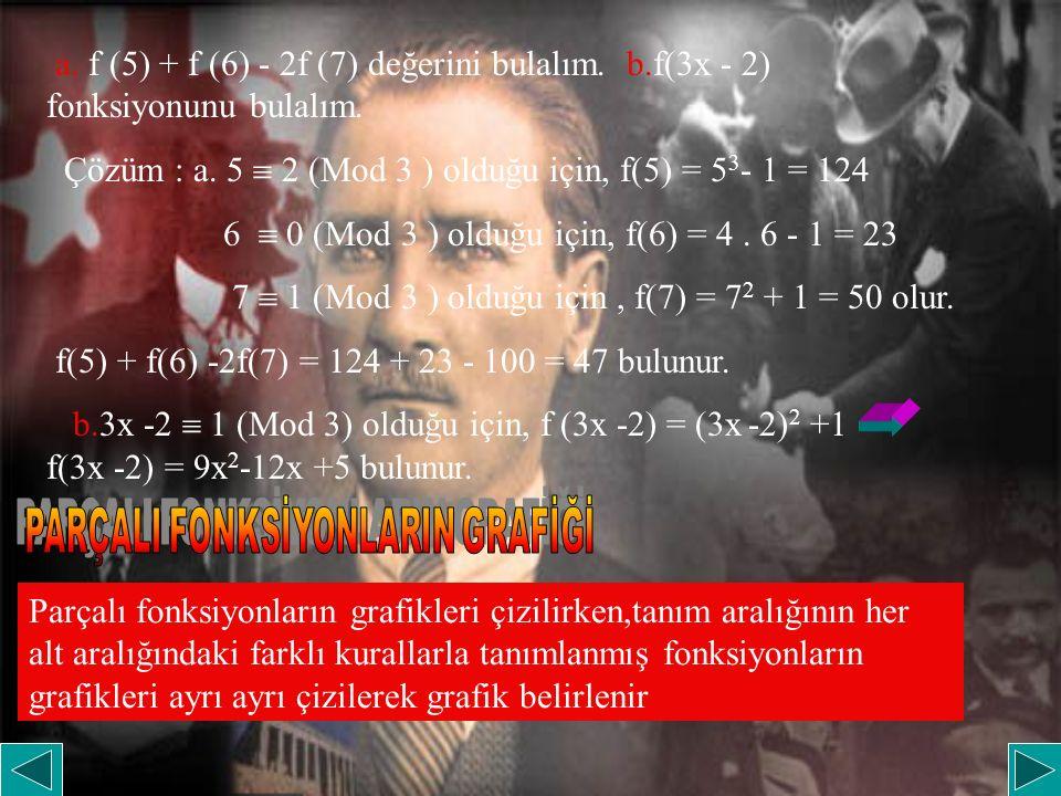 a. f (5) + f (6) - 2f (7) değerini bulalım. b.f(3x - 2) fonksiyonunu bulalım. Çözüm : a. 5  2 (Mod 3 ) olduğu için, f(5) = 5 3 - 1 = 124 6  0 (Mod 3