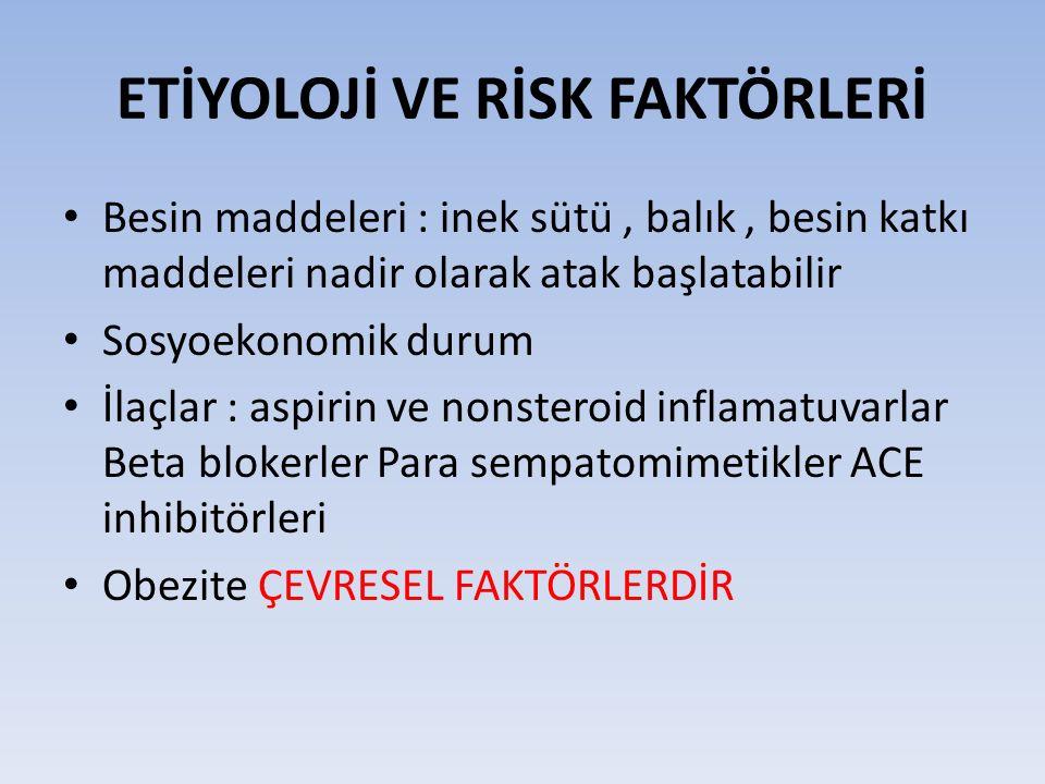 ETİYOLOJİ VE RİSK FAKTÖRLERİ Besin maddeleri : inek sütü, balık, besin katkı maddeleri nadir olarak atak başlatabilir Sosyoekonomik durum İlaçlar : aspirin ve nonsteroid inflamatuvarlar Beta blokerler Para sempatomimetikler ACE inhibitörleri Obezite ÇEVRESEL FAKTÖRLERDİR