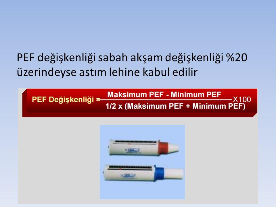 PEF değişkenliği sabah akşam değişkenliği %20 üzerindeyse astım lehine kabul edilir