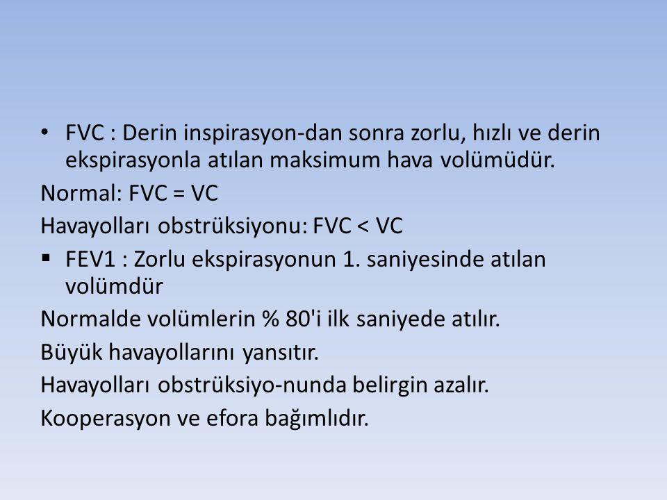 FVC : Derin inspirasyon-dan sonra zorlu, hızlı ve derin ekspirasyonla atılan maksimum hava volümüdür.