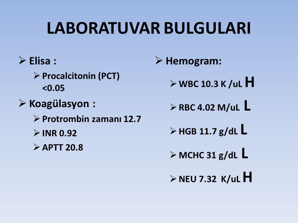 LABORATUVAR BULGULARI  Elisa :  Procalcitonin (PCT) <0.05  Koagülasyon :  Protrombin zamanı 12.7  INR 0.92  APTT 20.8  Hemogram:  WBC 10.3 K /uL H  RBC 4.02 M/uL L  HGB 11.7 g/dL L  MCHC 31 g/dL L  NEU 7.32 K/uL H