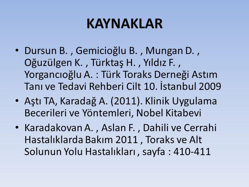 KAYNAKLAR Dursun B., Gemicioğlu B., Mungan D., Oğuzülgen K., Türktaş H., Yıldız F., Yorgancıoğlu A.