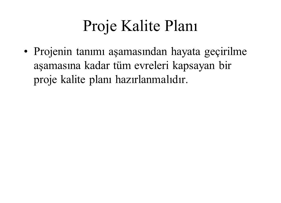 Proje Kalite Planı Projenin tanımı aşamasından hayata geçirilme aşamasına kadar tüm evreleri kapsayan bir proje kalite planı hazırlanmalıdır.