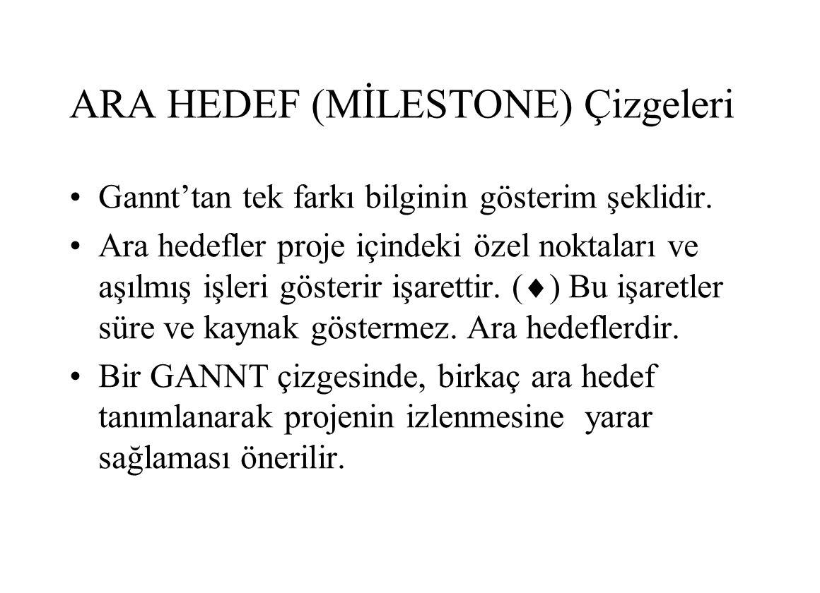 ARA HEDEF (MİLESTONE) Çizgeleri Gannt'tan tek farkı bilginin gösterim şeklidir.