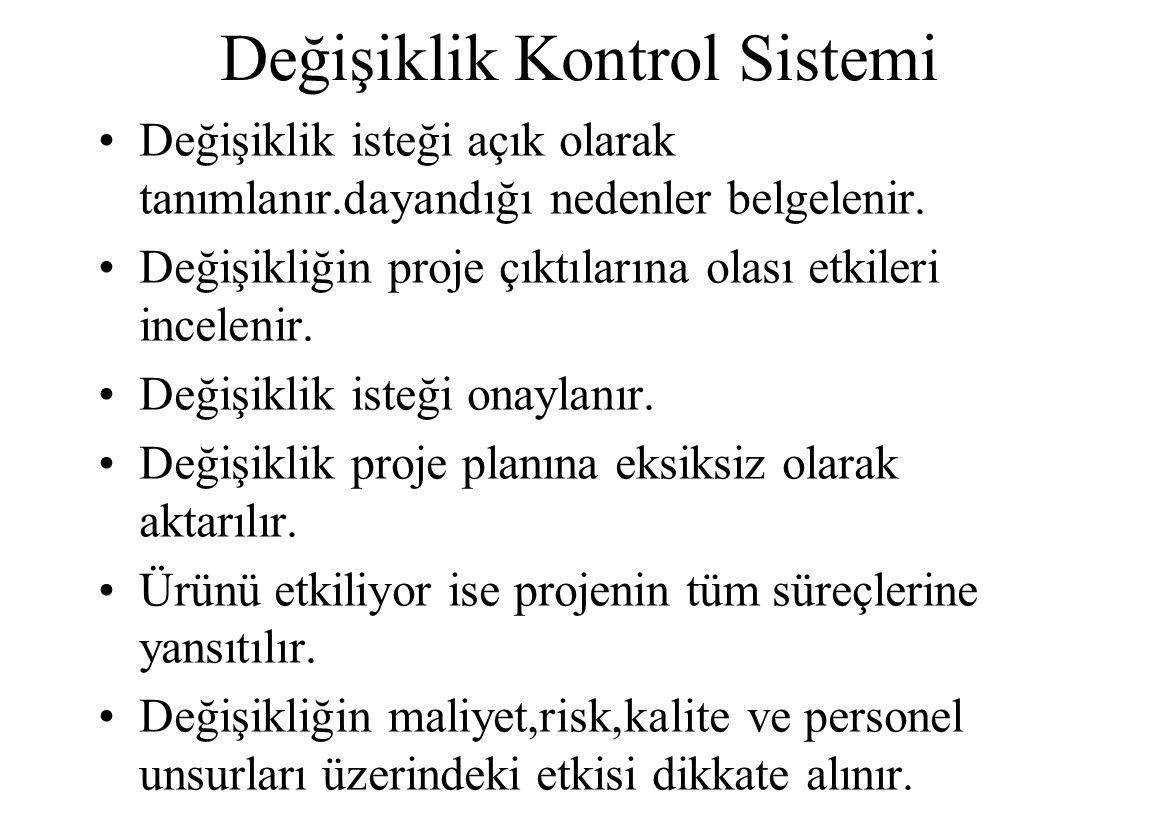 Değişiklik Kontrol Sistemi Değişiklik isteği açık olarak tanımlanır.dayandığı nedenler belgelenir.