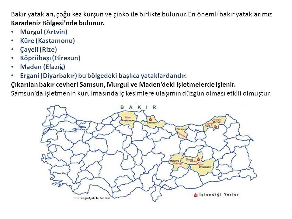 Bakır yatakları, çoğu kez kurşun ve çinko ile birlikte bulunur. En önemli bakır yataklarımız Karadeniz Bölgesi'nde bulunur. Murgul (Artvin) Küre (Kast