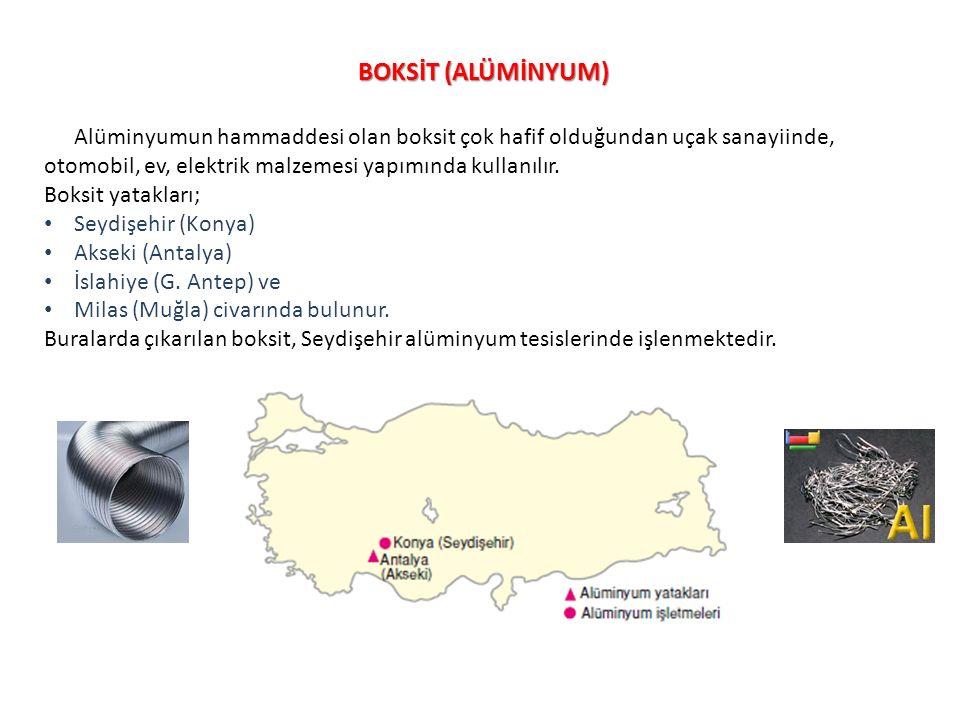 BOKSİT (ALÜMİNYUM) Alüminyumun hammaddesi olan boksit çok hafif olduğundan uçak sanayiinde, otomobil, ev, elektrik malzemesi yapımında kullanılır. Bok