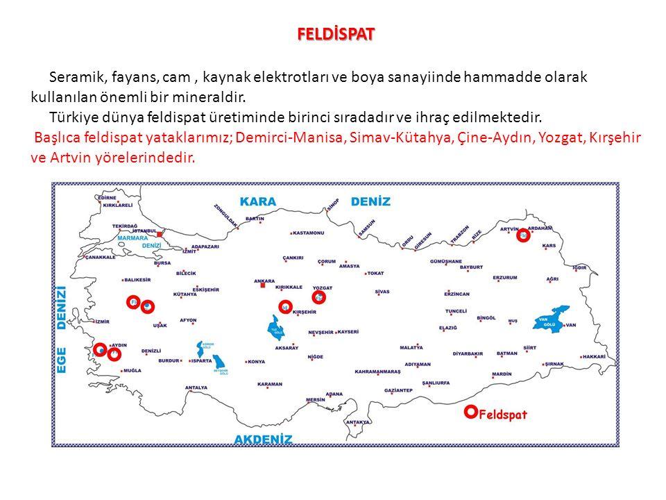 FELDİSPAT Seramik, fayans, cam, kaynak elektrotları ve boya sanayiinde hammadde olarak kullanılan önemli bir mineraldir. Türkiye dünya feldispat üreti