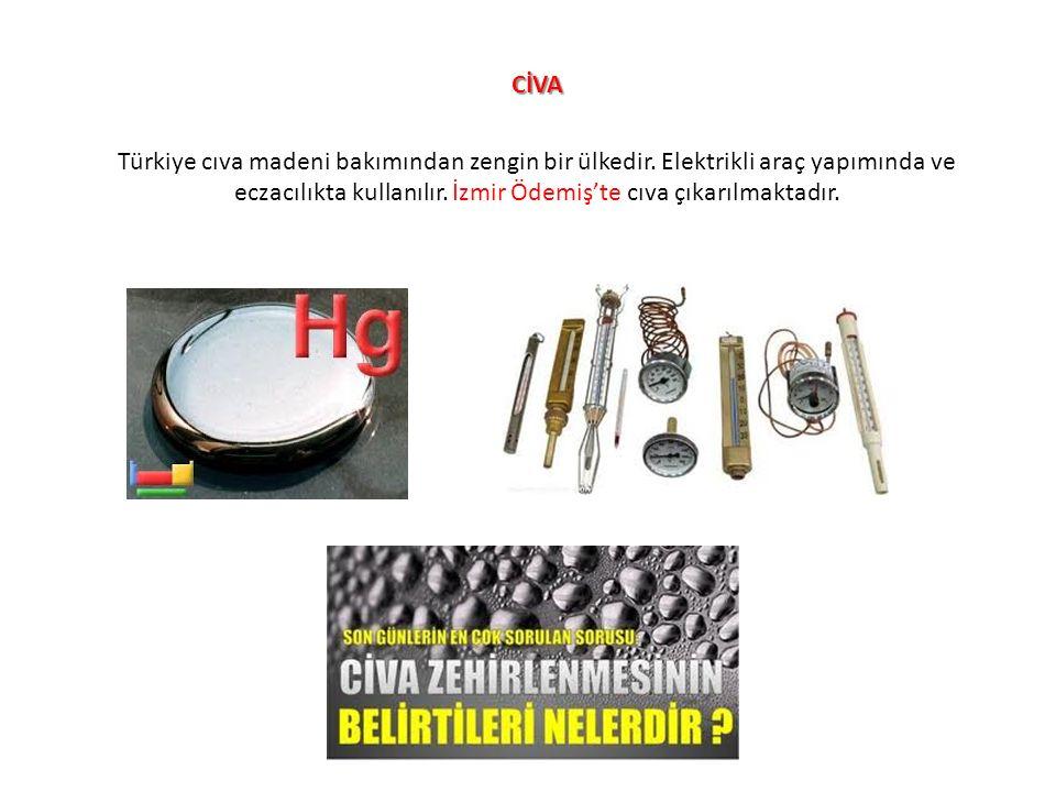 CİVA Türkiye cıva madeni bakımından zengin bir ülkedir. Elektrikli araç yapımında ve eczacılıkta kullanılır. İzmir Ödemiş'te cıva çıkarılmaktadır.