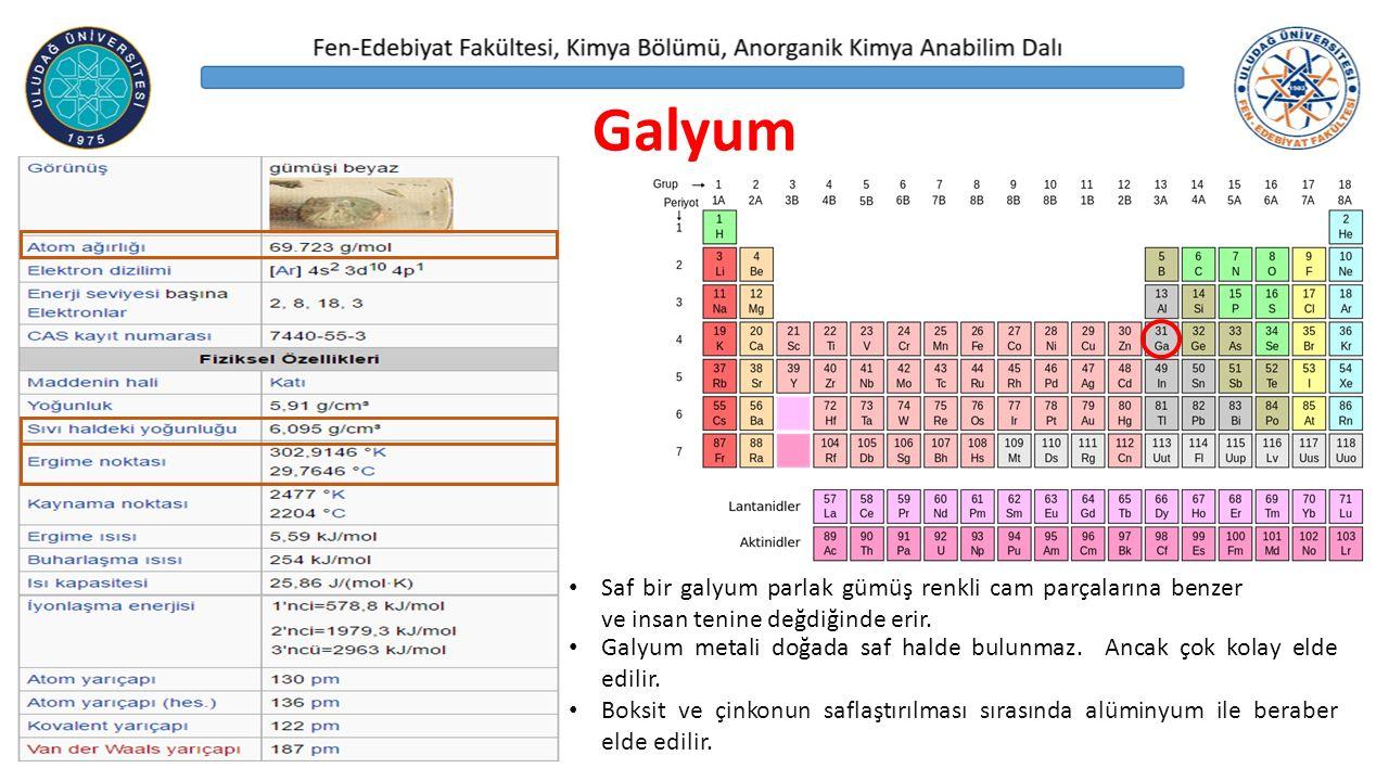 Galyum Galyum metali doğada saf halde bulunmaz.Ancak çok kolay elde edilir.