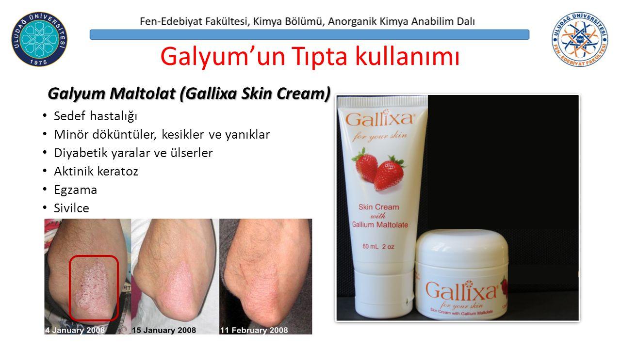 Sedef hastalığı Minör döküntüler, kesikler ve yanıklar Diyabetik yaralar ve ülserler Aktinik keratoz Egzama Sivilce Galyum'un Tıpta kullanımı Galyum Maltolat (Gallixa Skin Cream)