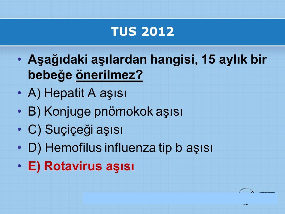 TUS 2012 Aşağıdaki aşılardan hangisi, 15 aylık bir bebeğe önerilmez.