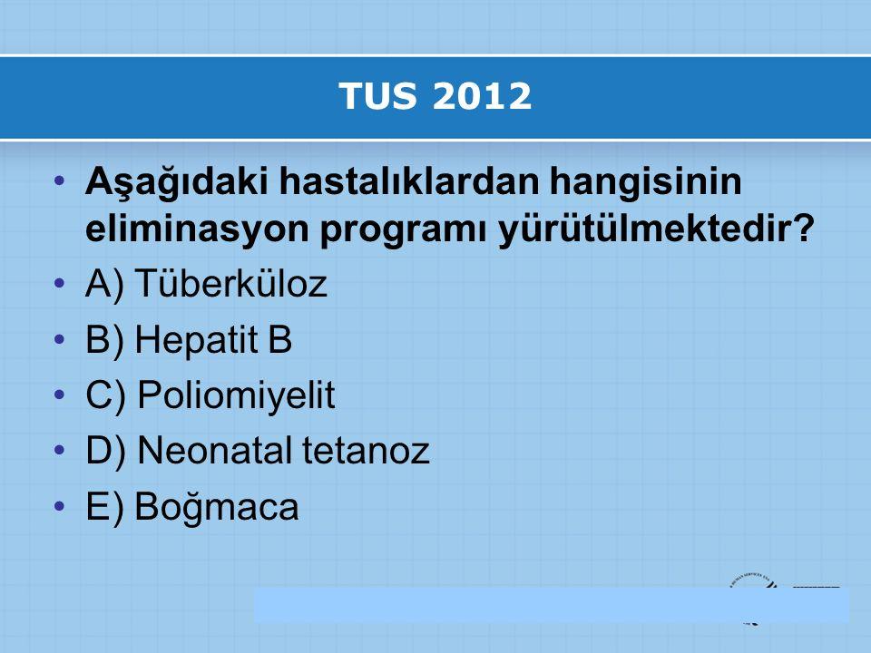 TUS 2012 Aşağıdaki hastalıklardan hangisinin eliminasyon programı yürütülmektedir.