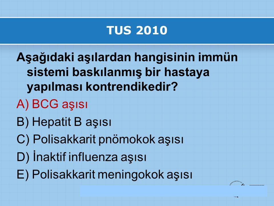 TUS 2010 Aşağıdaki aşılardan hangisinin immün sistemi baskılanmış bir hastaya yapılması kontrendikedir.