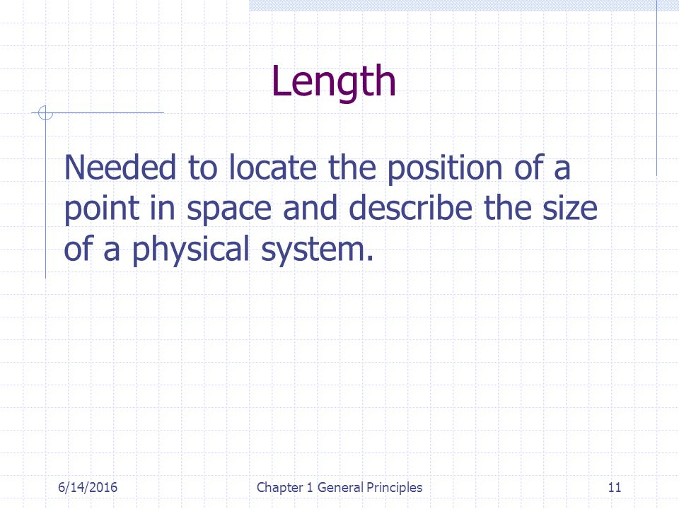 6/14/2016Chapter 1 General Principles11 Length Needed to locate the position of a point in space and describe the size of a physical system.