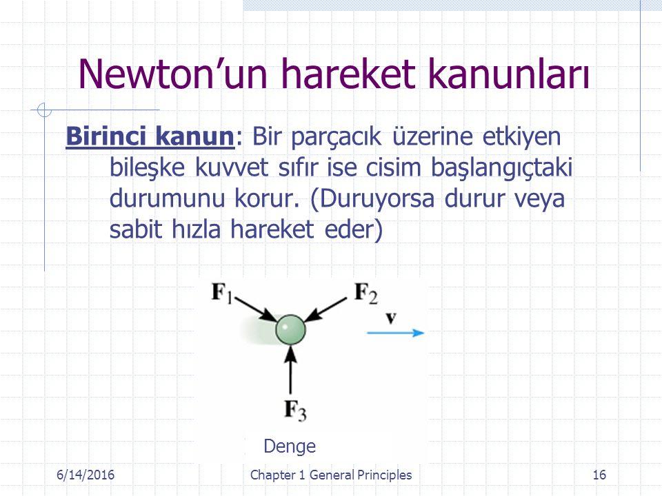 6/14/2016Chapter 1 General Principles16 Newton'un hareket kanunları Birinci kanun: Bir parçacık üzerine etkiyen bileşke kuvvet sıfır ise cisim başlangıçtaki durumunu korur.