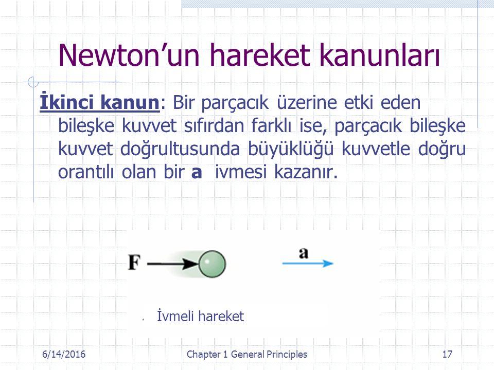 6/14/2016Chapter 1 General Principles17 İkinci kanun: Bir parçacık üzerine etki eden bileşke kuvvet sıfırdan farklı ise, parçacık bileşke kuvvet doğrultusunda büyüklüğü kuvvetle doğru orantılı olan bir a ivmesi kazanır.