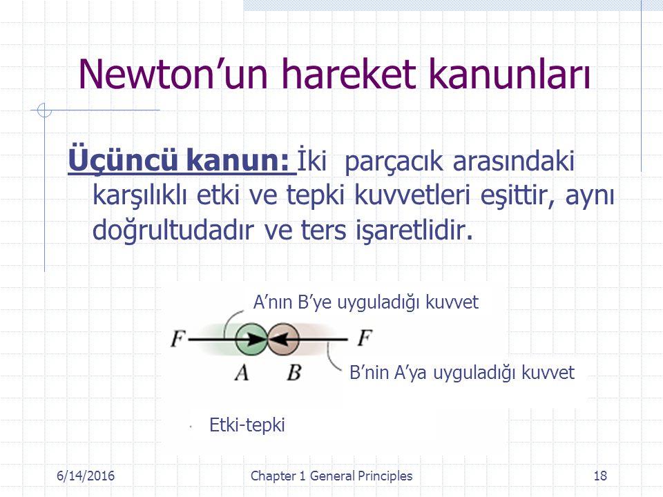 6/14/2016Chapter 1 General Principles18 Üçüncü kanun: İki parçacık arasındaki karşılıklı etki ve tepki kuvvetleri eşittir, aynı doğrultudadır ve ters işaretlidir.
