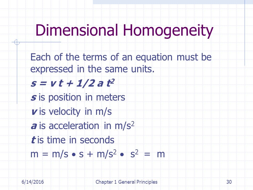 6/14/2016Chapter 1 General Principles30 Dimensional Homogeneity Each of the terms of an equation must be expressed in the same units.