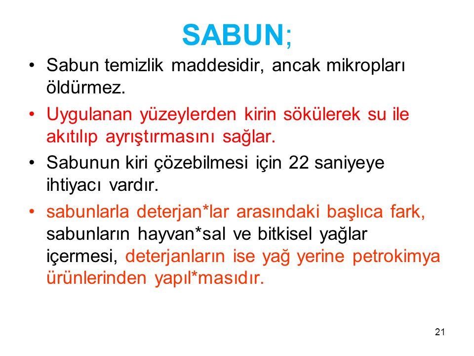 21 SABUN; Sabun temizlik maddesidir, ancak mikropları öldürmez.