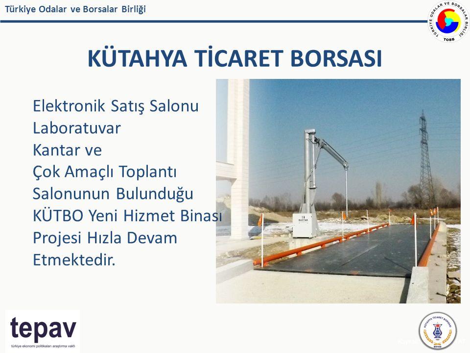 Türkiye Odalar ve Borsalar Birliği KÜTAHYA TİCARET BORSASI Kaynak: IMF, EUROSTAT Elektronik Satış Salonu Laboratuvar Kantar ve Çok Amaçlı Toplantı Salonunun Bulunduğu KÜTBO Yeni Hizmet Binası Projesi Hızla Devam Etmektedir.