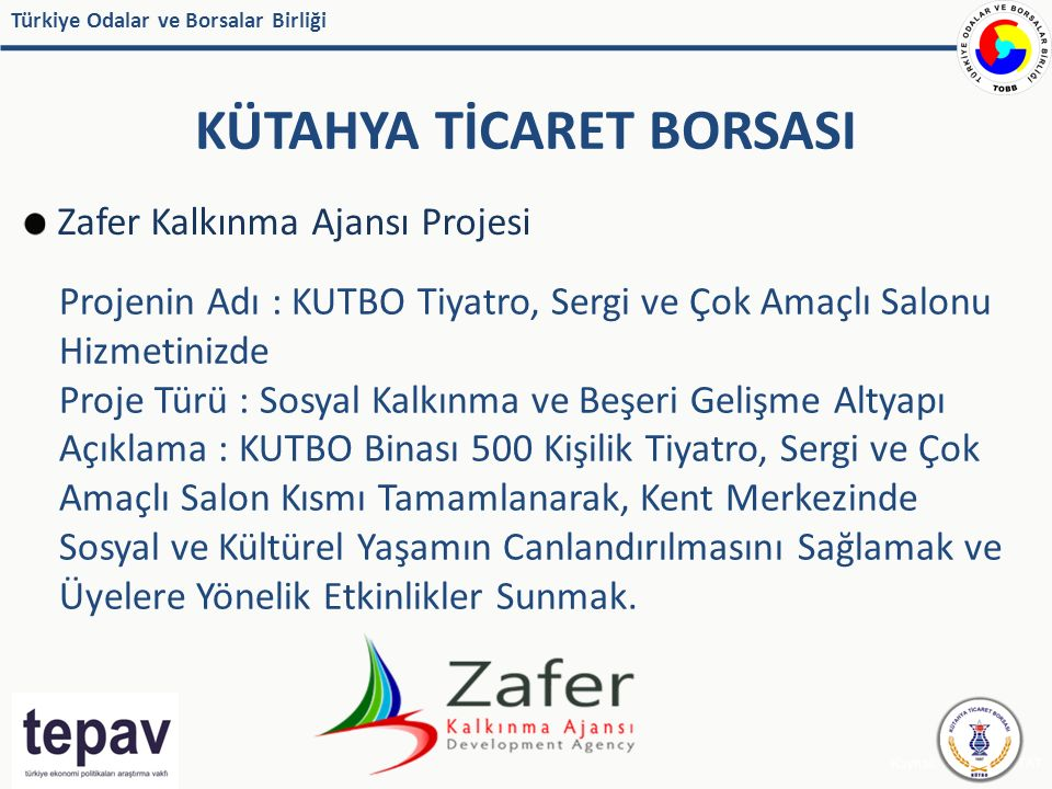 Türkiye Odalar ve Borsalar Birliği KÜTAHYA TİCARET BORSASI Kaynak: IMF, EUROSTAT Zafer Kalkınma Ajansı Projesi Projenin Adı : KUTBO Tiyatro, Sergi ve Çok Amaçlı Salonu Hizmetinizde Proje Türü : Sosyal Kalkınma ve Beşeri Gelişme Altyapı Açıklama : KUTBO Binası 500 Kişilik Tiyatro, Sergi ve Çok Amaçlı Salon Kısmı Tamamlanarak, Kent Merkezinde Sosyal ve Kültürel Yaşamın Canlandırılmasını Sağlamak ve Üyelere Yönelik Etkinlikler Sunmak.