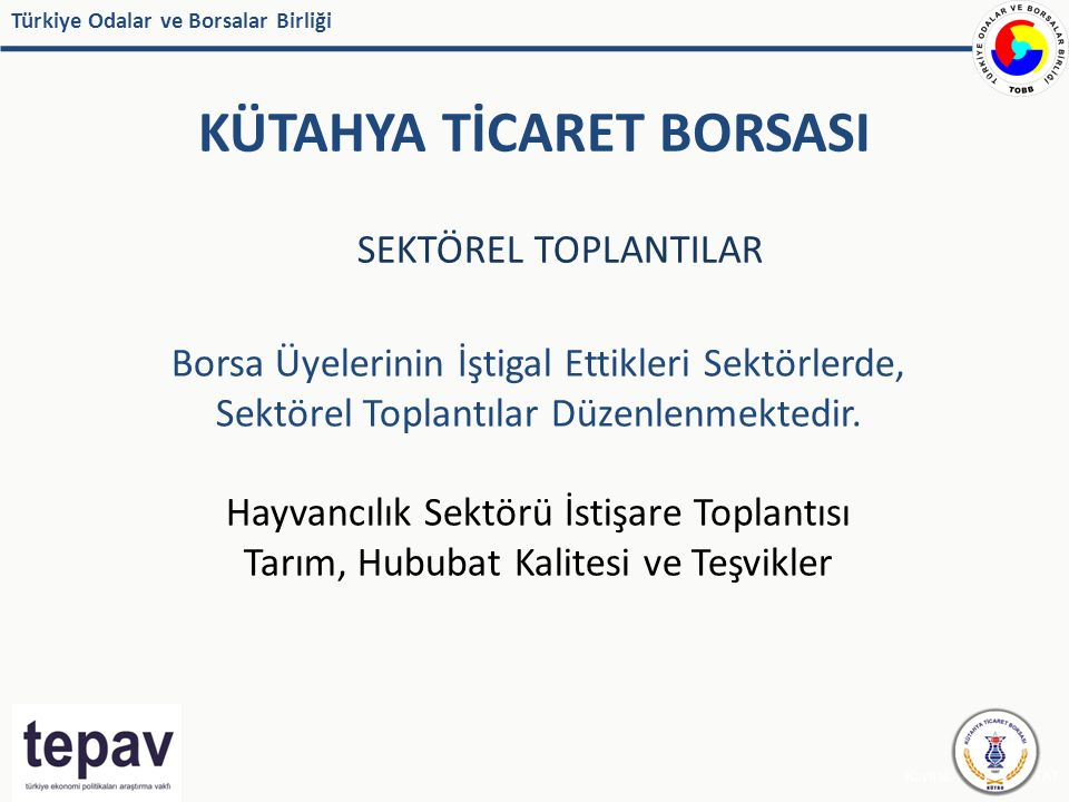 Türkiye Odalar ve Borsalar Birliği KÜTAHYA TİCARET BORSASI Kaynak: IMF, EUROSTAT SEKTÖREL TOPLANTILAR Borsa Üyelerinin İştigal Ettikleri Sektörlerde,