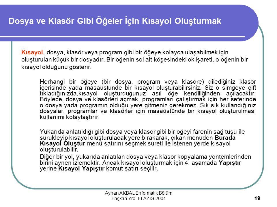 Ayhan AKBAL Enformatik Bölüm Başkan Yrd.