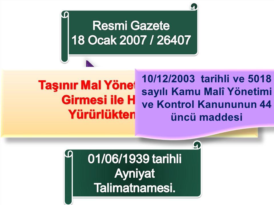 10/12/2003 tarihli ve 5018 sayılı Kamu Malî Yönetimi ve Kontrol Kanununun 44 üncü maddesi