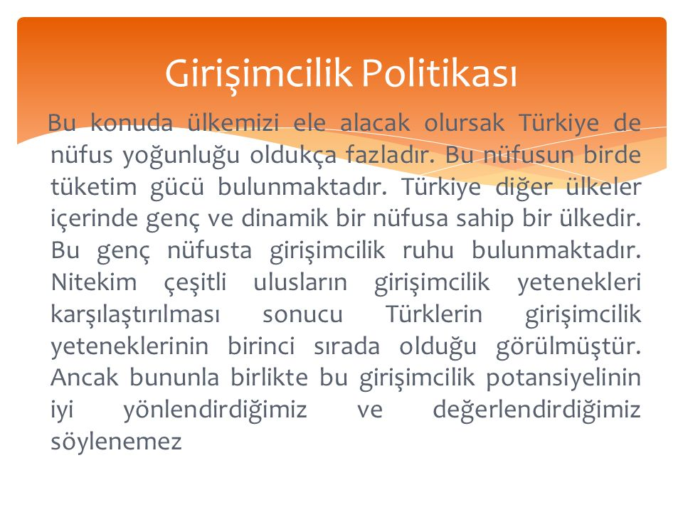 Girişimcilik Politikası Bu konuda ülkemizi ele alacak olursak Türkiye de nüfus yoğunluğu oldukça fazladır.