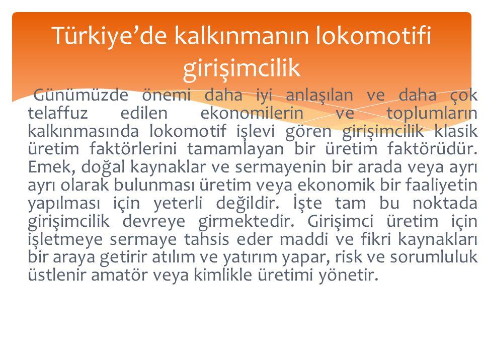 Türkiye'de kalkınmanın lokomotifi girişimcilik Günümüzde önemi daha iyi anlaşılan ve daha çok telaffuz edilen ekonomilerin ve toplumların kalkınmasında lokomotif işlevi gören girişimcilik klasik üretim faktörlerini tamamlayan bir üretim faktörüdür.