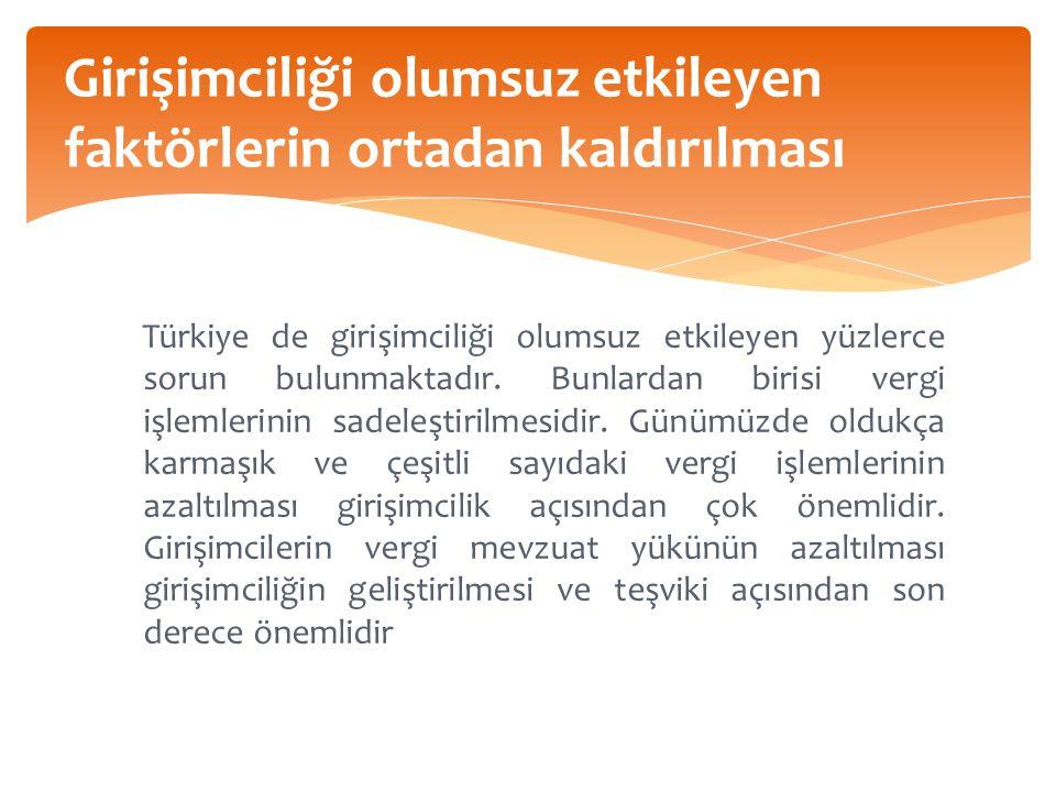 Girişimciliği olumsuz etkileyen faktörlerin ortadan kaldırılması Türkiye de girişimciliği olumsuz etkileyen yüzlerce sorun bulunmaktadır.