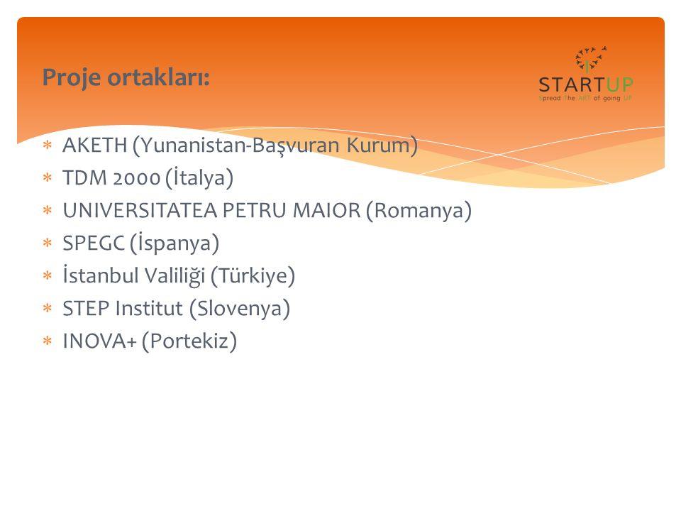  Yüksek işsizlik oranları  Girişimciliği teşvik  Acemi (neophyte) şirketler  Europe 2020 Strategy  Entrepreneurship 2020 Action Plan  Startup Europe Proje Hakkında