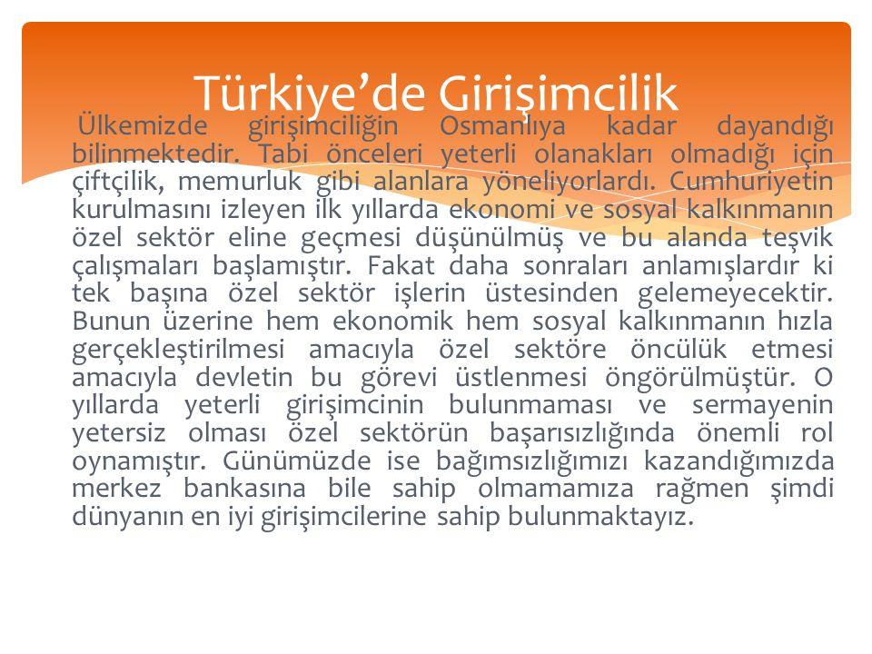 Türkiye'de Girişimcilik Ülkemizde girişimciliğin Osmanlıya kadar dayandığı bilinmektedir.