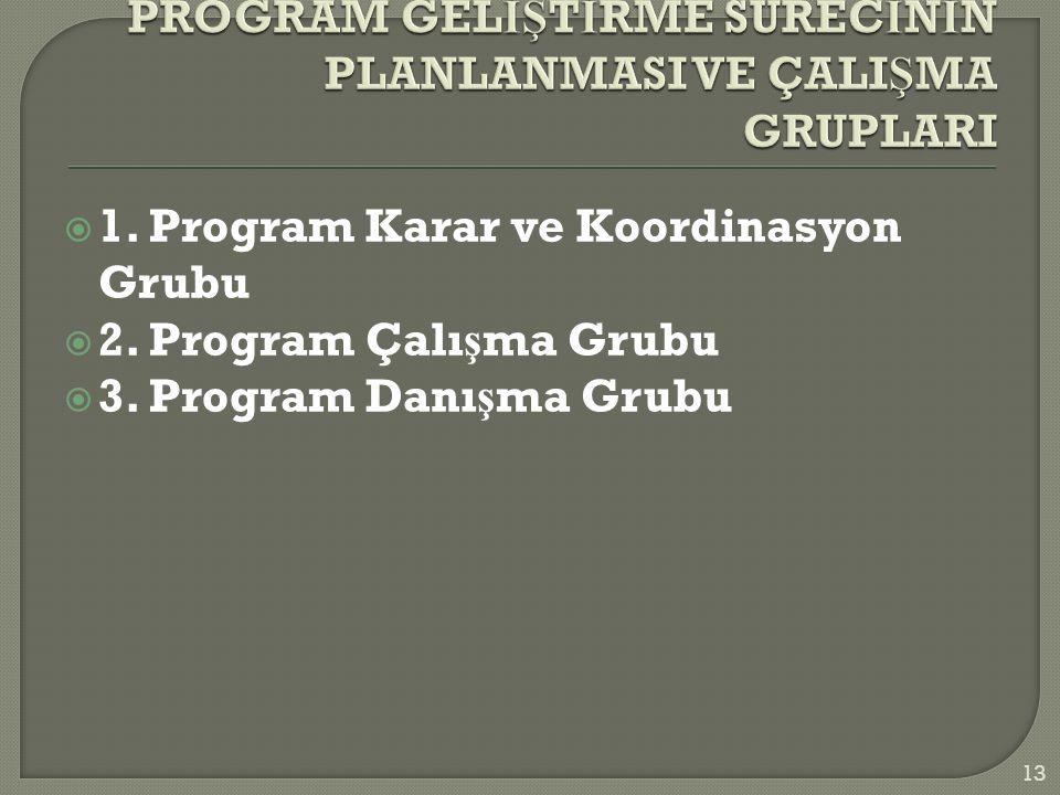  1. Program Karar ve Koordinasyon Grubu  2. Program Çalı ş ma Grubu  3.