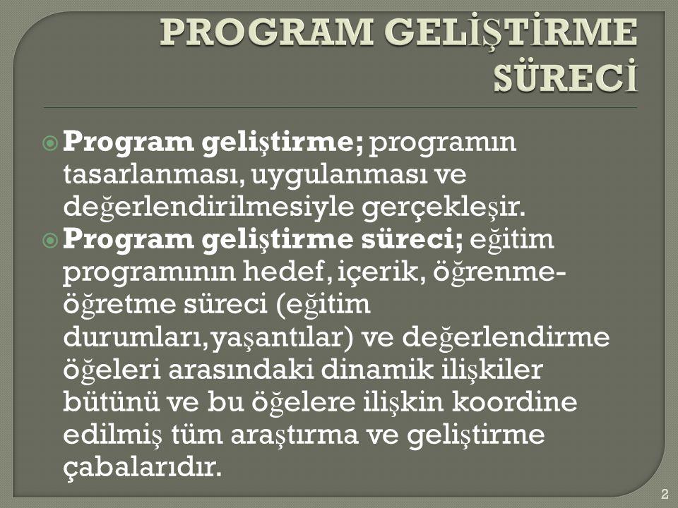  Program geli ş tirme; programın tasarlanması, uygulanması ve de ğ erlendirilmesiyle gerçekle ş ir.