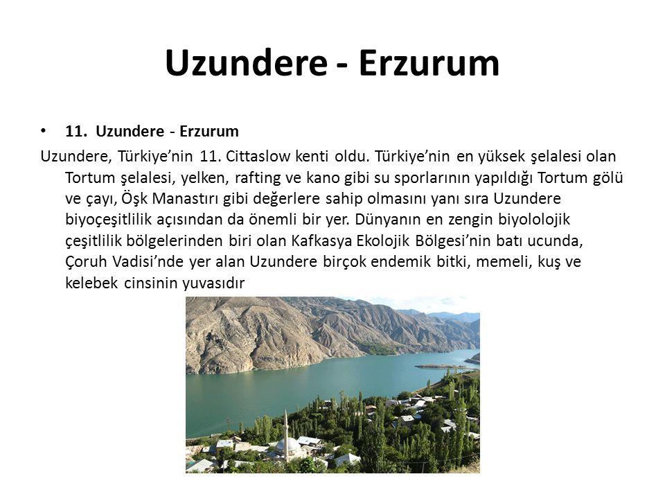 Uzundere - Erzurum 11. Uzundere - Erzurum Uzundere, Türkiye'nin 11. Cittaslow kenti oldu. Türkiye'nin en yüksek şelalesi olan Tortum şelalesi, yelken,
