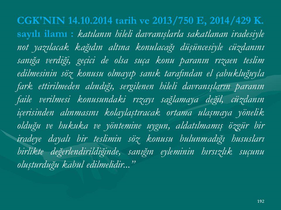 CGK NIN 14.10.2014 tarih ve 2013/750 E, 2014/429 K.