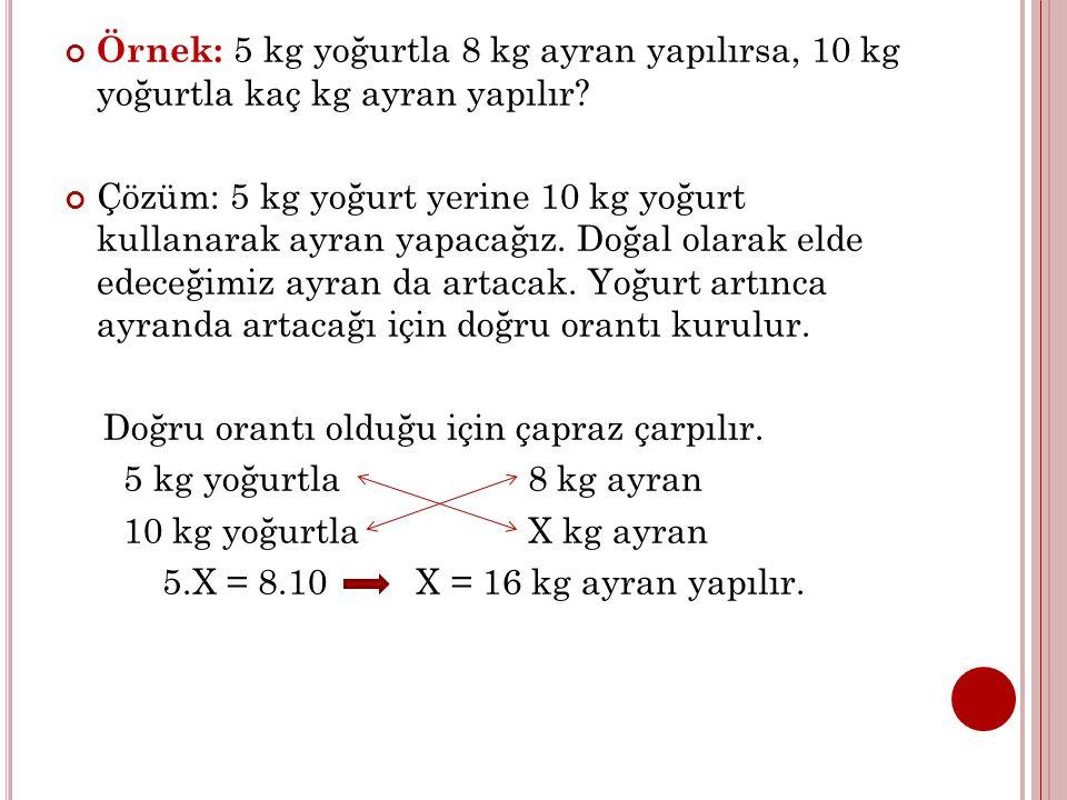 Örnek: 5 kg yoğurtla 8 kg ayran yapılırsa, 10 kg yoğurtla kaç kg ayran yapılır? Çözüm: 5 kg yoğurt yerine 10 kg yoğurt kullanarak ayran yapacağız. Doğ
