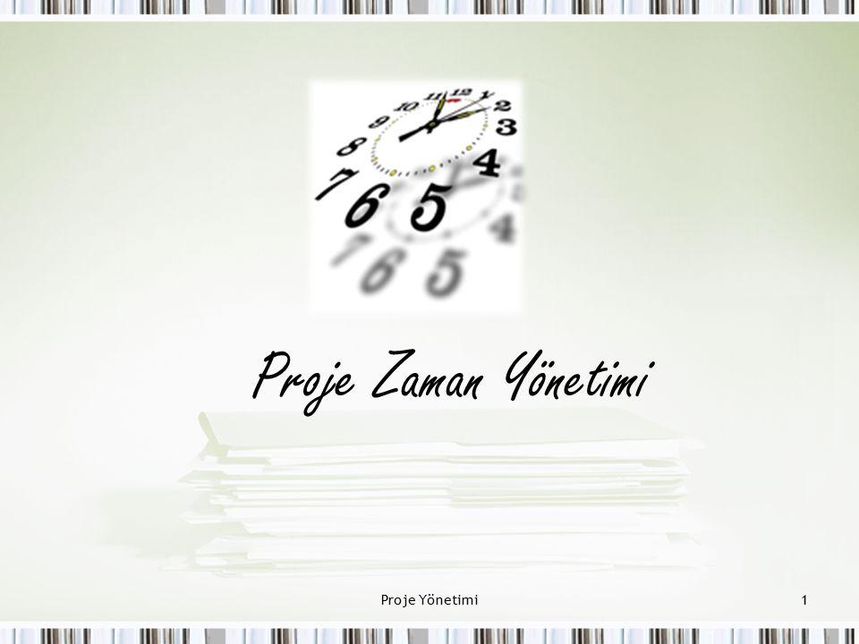 Proje Zaman Yönetimi Süreçleri Proje Zaman Yönetimi projenin zamanında tamamlanması süreçlerini içerir.