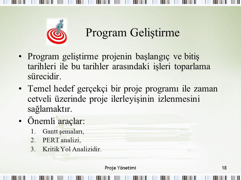 Program Geliştirme Program geliştirme projenin başlangıç ve bitiş tarihleri ile bu tarihler arasındaki işleri toparlama sürecidir. Temel hedef gerçekç