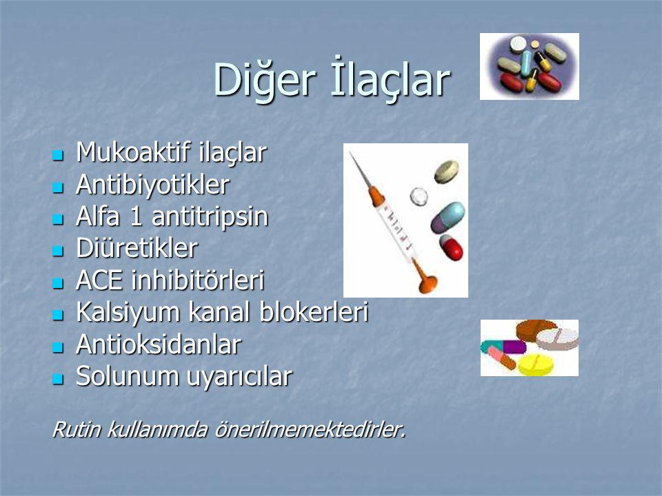 Diğer İlaçlar Mukoaktif ilaçlar Mukoaktif ilaçlar Antibiyotikler Antibiyotikler Alfa 1 antitripsin Alfa 1 antitripsin Diüretikler Diüretikler ACE inhi