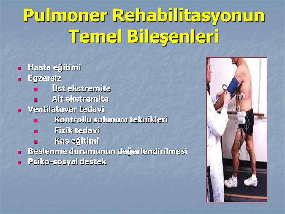 Pulmoner Rehabilitasyonun Temel Bileşenleri Hasta eğitimi Hasta eğitimi Egzersiz Egzersiz Üst ekstremite Üst ekstremite Alt ekstremite Alt ekstremite