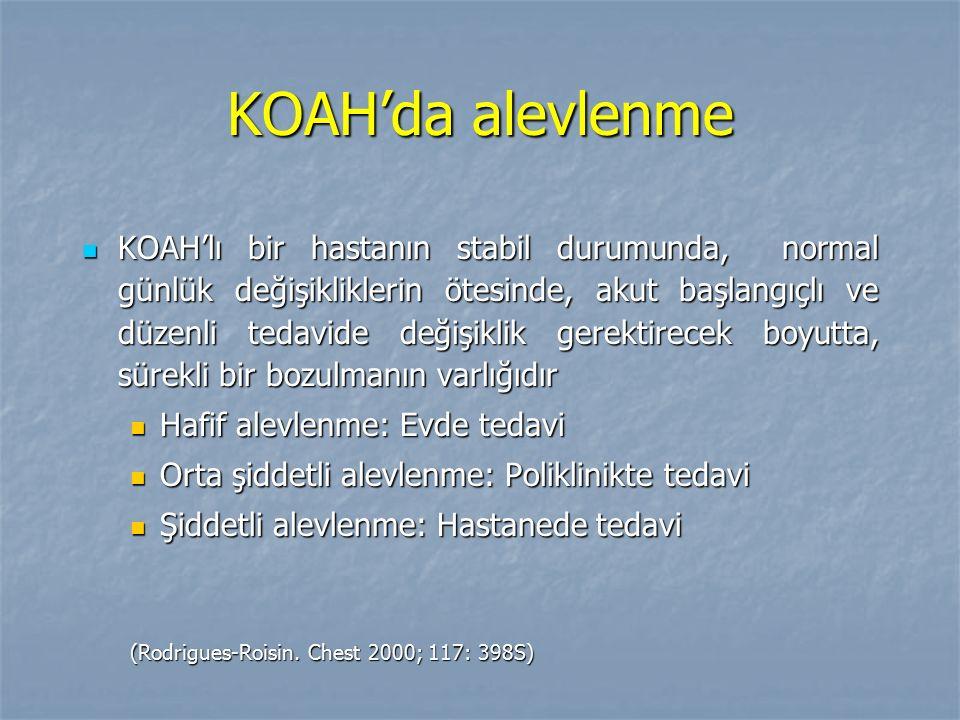 KOAH'da alevlenme KOAH'lı bir hastanın stabil durumunda, normal günlük değişikliklerin ötesinde, akut başlangıçlı ve düzenli tedavide değişiklik gerek