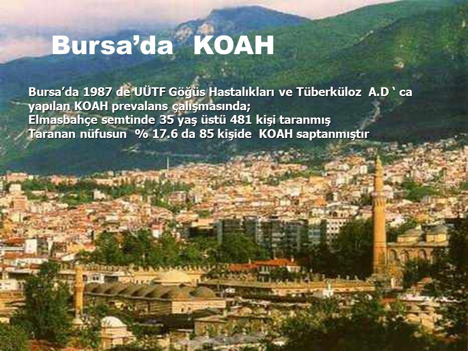 Bursa'da KOAH Bursa'da 1987 de UÜTF Göğüs Hastalıkları ve Tüberküloz A.D ' ca yapılan KOAH prevalans çalışmasında; Elmasbahçe semtinde 35 yaş üstü 481