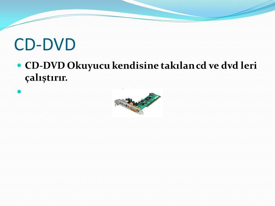 CD-DVD CD-DVD Okuyucu kendisine takılan cd ve dvd leri çalıştırır.